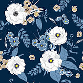 Beautiful and trendy hand drawing seamless pattern white softy Blooming garden florals for textile decor and design. botanical wallpaper