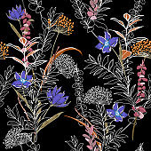 Unfinished dark colorful flower Seamless Pattern forest and leaves, line hand drawn style  Isolated on black color. Botanical  Floral Decoration Texture For Fabric Print,