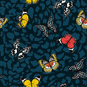 Beautiful and Colorful butterflies flying on animal leopard skin seamless pattern ,vector design for fashion,fabric,wallpaper,and all prints