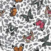 Trendy  butterflies flying on animal leopard skin seamless pattern ,vector design for fashion,fabric,wallpaper,and all prints