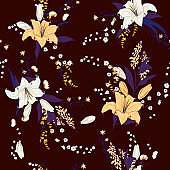 Beautiful garden flowers leaves  blowing meadow florals on seamless pattern vector stylish