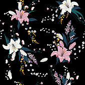 Trendy  Dark Floral pattern in the many kind of flowers. Tropical botanical  Motifs scattered random. Seamless vector texture for fashion prints.