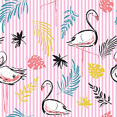 Summer vibes Beautiful hand drawing contrast tropical motif vector flamingo bird,leaves,tropical leaves,pattern