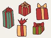Christmas gift boxes design elements set