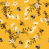 Stylish embroidery Bee, butterfly, and flowers . Vector vintage decorative element for embroidery