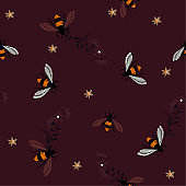 Embroidery dark tone honey bee,with flowers Fashion patch with insects illustration. Seamless pattern backdrop.