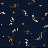Embroidery honey bee, and funny bee with flowers on dark tone. Fashion patch with insects illustration