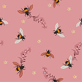 Summer bright Embroidery honey bee, and funny bee with flowers. Fashion patch with insects illustration.