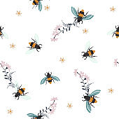 Embroidery honey bee,with flowers Fashion patch with insects illustration. Seamless pattern backdrop.