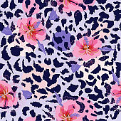 Beautiful blooming flower on animal skin leopard prints seamless pattern vector,design for fashion,fabric,wallpaper and all prints