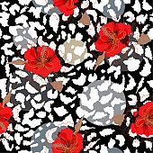 Bright red blooming flower on animal skin leopard prints seamless pattern vector,design for fashion,fabric,wallpaper and all prints
