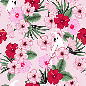 Trendy vector seamless beautiful artistic summer tropical pattern with exotic forest. Bright and Colorful original stylish floral background print, bright forest flower