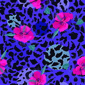Colorful pink  blooming flower on animal skin leopard prints seamless pattern vector,design for fashion,fabric,wallpaper and all prints