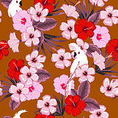 Stylish summer on cool brown color background seammless vector forest and tropical leaves and hibiscus flowers patter