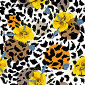 Big summer hibiscus  blooming flower on animal skin leopard prints seamless pattern vector,design for fashion,fabric,wallpaper and all prints