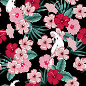 Vector seamless beautiful artistic summer dark tropical pattern with exotic forest. Bright and Colorful original stylish floral background print,