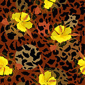 Full Yellow blooming flower on animal skin leopard prints seamless pattern vector,design for fashion,fabric,wallpaper and all prints
