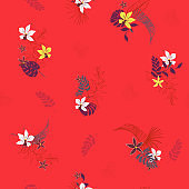 Beautiful summer Bright Tropical with flowers palm leaves,with outline Exotic  leaves seamless