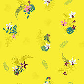 Beautiful summer Bright Tropical with flowers palm leaves,with outline Exotic  leaves seamless vector floral pattern background
