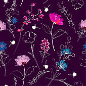 A garden hand drawing outline sketch with paintting florals seamless pattern in vector