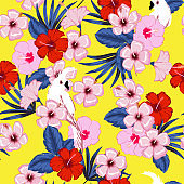 Fresh summer on vivid yellower background seammless vector forest and tropical leaves and hibiscus flowers pattern