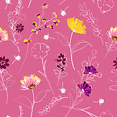 Sweet garden flowers outline and blooming florals seamless pattern vector