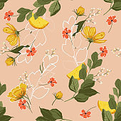 Vintage Trendy bright Summer blooming garden outline and hand painting flowers many kind of floral in seamless pattern vector illustration