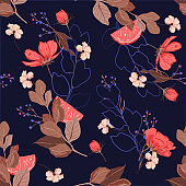Trendy stylish Summer garden outline and hand painting flowers many kind of floral in seamless pattern vector illustration