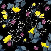 Trendy dark Summer night  garden outline and hand painting flowers many kind of floral in seamless pattern vector illustration