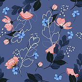 Beautiful  bright Summer blooming garden outline and hand painting flowers many kind of floral in seamless pattern vector illustration