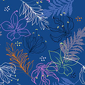 Beautiful Vector seamless pattern. Summer colorful outline wild flowers on stylish blue color background for fabric design, textile print,