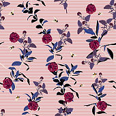 Summer blooming flowers  with bees on the pink striped background. Vector seamless pattern. Romantic garden flowers illustration.