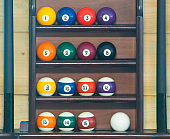 balls for billiards, stand in a row in order on the rack for storing a set of inventory for playing pool