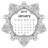 Adult coloring page with monthly calendar of 2019 year isolated on white background drawing doodles frame