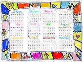 Colorful  Chalk drawing doodles frame children kids calendar 2019 year
