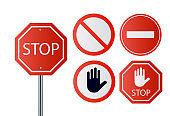 Stop signs collection in red and white, traffic sign to notify drivers and provide safe and orderly street operation.