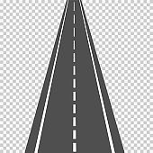 Asphalt road in scale, in perspective isolated on white background.