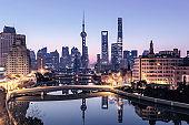 Shanghai cityscape and skyline at sunrise