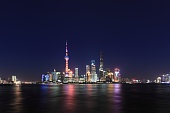 Shanghai cityscape and skyline at night