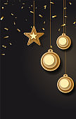 vector illustration of Christmas background with Christmas ball star snowflake confetti gold and black colors lace for text 2019