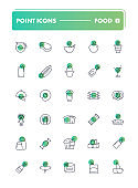 Set of 30 line icons. Food and drink