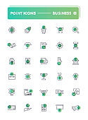 Set of 30 line icons. Business