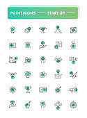 Set of 30 line icons. Start Up
