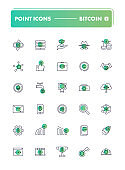 Set of 30 line icons. Blockchain and cryptocurrency