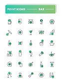 Set of 30 line icons. Bar