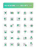 Set of 30 line icons.  Security