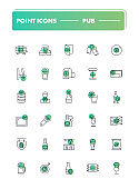 Set of 30 line icons. Pub