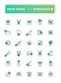 Set of 30 line icons. Workplace and stationery