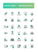 Set of 30 line icons. Winter activity