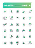 Set of 30 line icons. Finance